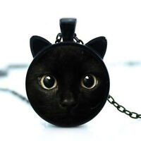 Painting Black Cat Necklace For Pet Lovers Cat Pendant With Ears Charm Jewelry