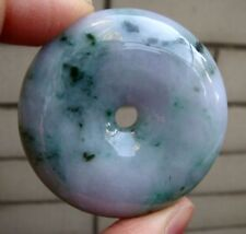 Certified Grade A Type Lavender Green Jadeite Jade Safety Circle Donut Pendant