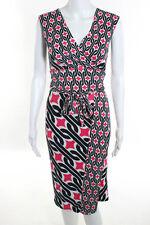 Diane Von Furstenberg White Black Pink Silk Printed Sleeveless Wrap Dress Size 8