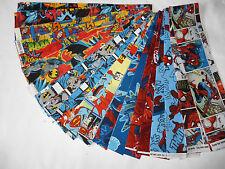 "COMIC SUPER HEROES Mix FABRIC JELLY ROLL 20 X 44"" SPIDERMAN/SUPERMAN/BATMAN"