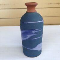 Vintage Blue Drip Glaze Studio Pottery Vase Signed Alfadom