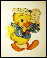 "ORIGINAL 1950's  ""EASTER CARD"" SHOWING HARMONICA PLAYER"