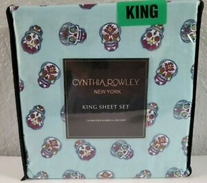 Cynthia Rowley Unique Sugar Skull Microfiber Sheet Set KING Size New Halloween