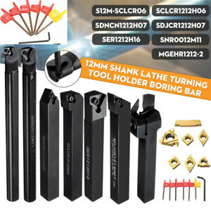 21pcs/set 12mm Shank Lathe Turning Tool Holder Boring Bar + Carbide Insert