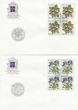 ICELAND :1985 Flowers blocks of four on illustrated First Day Covers SG657-60