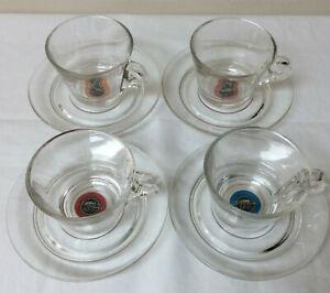 Lavazza A Modo Mio Glass Espresso Cups & Saucers Set of 4 Clear
