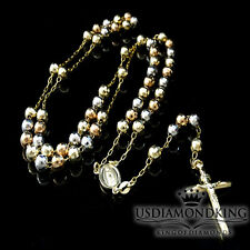 14K Gold Trio Color Diamond Cut Beads 6 MM Rosary Necklace Chain 28+5 Inches New