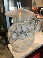 FENTON ART GLASS White / Clear OPALESCENT COIN DOT PITCHER