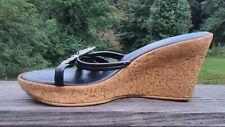 "Athena Alexander Womens Sz 9M Black Wedge Sandals Rhinestone ""Buckles"" Italy"