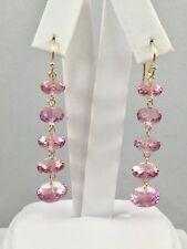 Beautiful Genuine Pink Topaz (39ct) 14kt Yellow Gold Dangle/Drop Earrings, New