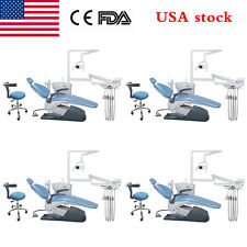 4 Dental Unit Chair Hard Leather Computer Control Dc Motor Chair Stool Sky Blue