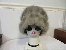 S. Brody Fine Furs Silver Sapphire Mink Cloche Fur Hat Flapper Style Toque Small