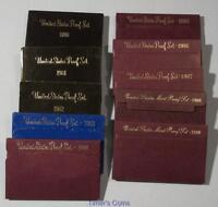 1980 -1989 PROOF sets - Lot of 10 Sets- 1980 through 1989 S Proof Set lot