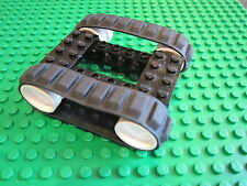 LEGO 2 BLACK Caterpillar Rubber Track + 4 Technic Wheel + 1 x 8 Brick & Pins