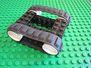 LEGO 2 BLACK Caterpillar Rubber Track + 4 Technic Wheel + 1 x 8 Brick & Pins