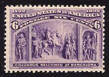 #235 F-VF MNH OG-6¢ COLUMBIAN ISSUE-COLUMBUS WELCOMED AT BARCELONA (REM #235-12)