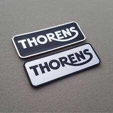 2 x THORENS - Aluminium Metalic Logo Sticker - 2.75 inch by1 inch - 70mm / 25mm
