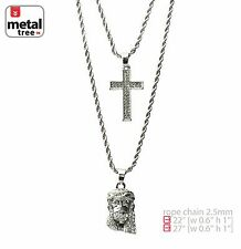 """Men's Silver Plated Jesus Cross 22"""" 27"""" Combo Pendant Chain Necklace  MHC 204 S"""