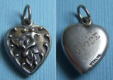 "Vintage calla lily flower ""Rose"" puffy heart sterling charm"