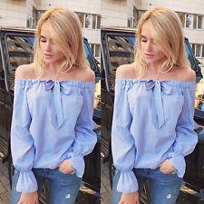 Fashion Womens Ladies Summer Long Sleeve Shirt Loose Casual Blouse Tops T-Shirt