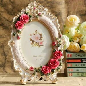 Resin Rose Flower Photo Frame Oval Rectangle Shape Frames for Wedding Gifts Home