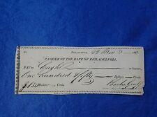 Early Philadelphia Pennsylvania Check, Bank of Philadelphia 1822, 198 years old