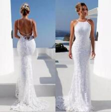 Bohemian Beach Wedding Dress Halter Neck Backless Lace Mermaid Bridal Gown Size