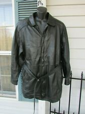 VINTAGE Berman's Men's Black Leather Zip Out Lined Jacket W/Belt Sz Large