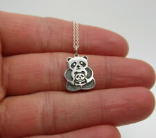 Silver Family Mom Mother Girls Pendant Mama & Baby Panda Necklace 925 Sterling
