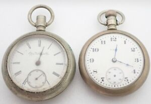 LOT 2 ANTIQUE 18 SIZE ELGIN POCKET WATCHES PARTS REPAIR