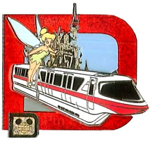 Le Disney Pin✿Tink Tinker Bell Retro Transportation Monorail Classic Castle Rare