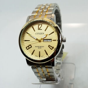 Citizen Battery Quartz Watch Men - Gold/Two Tone Metal Bracelet Model M1922