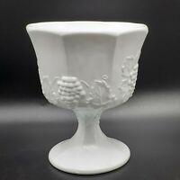 "VINTAGE Indiana Glass COLONY HARVEST Milk Glass Pedestal Compote 6.5"" NICE"