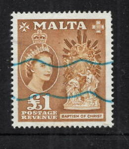 Malta. 1956. SG282. £1 yellow-brown. Used with wavy line cancels.
