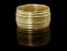 14k yellow gold wedding ring for man/woman.Handmade unique texture wedding ring