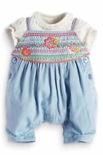 ••• ВNWT NEXT Embroidered • Chambray Stitch Dungaree Set • 100% Cotton • 6-9 Mon