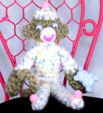 """Amigurumi 6"""" Mini BooBoo Bear Sock Monkey Handmade Crochet Stuffed Animal Doll"""