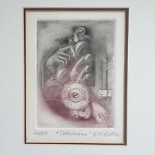 G.H Rothe Limited Edition Print Etching Mezzotint Telephone Signed Framed w/ COA