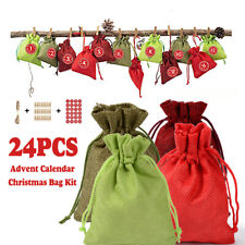 Christmas 1-24 Days Countdown Gift Bag Pocket Advent Calendar Decor Xmas Party