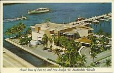 OLD VINTAGE AERIAL VIEW OF PIER 66 IN FORT LAUDERDALE FLORIDA 1962 POSTCARD