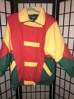 J Gallery Vintage Down Ski Coat Jacket Color Block Womens Size L Colorful