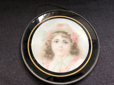 Gorgeous Chimney Flue Cover German Victorian Lady Girl Round Glass Vintage