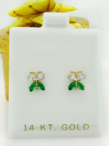WHITE SAPPHIRE & EMERALD STUD BUTTERFLY EARRINGS 14K GOLD * New With Tag *