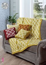 KINGCOLE 4872 -Cushion & Throw Knitting Pattern - Not the finished items