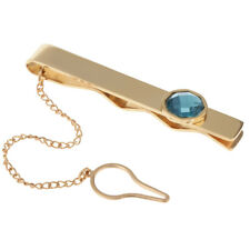 Blue Opal Silver Tie Chain Necktie Clip Clasp for Mens Wedding Party Jewelry