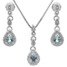 0.55 CT BLUE TOPAZ & GENUINE DIAMOND PLATINUM OVER 925 STERLING SILVER SET