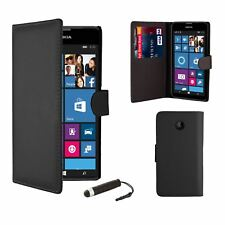 Book Wallet PU Leather Case Cover for Nokia LUMIA 620 Screen Protector Cleaning Cloth and Touch Stylus - Black