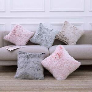 Fluffy Faux Fur Supplies Pillow Case Throw Sofa Fluffy Square Car Home Decor