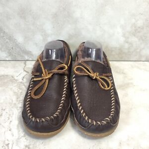LL Bean Men 11 Handsewn Slippers Dark Brown Leather Shearling Lined Shoes FLAW