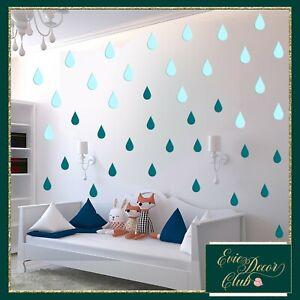 Wall Decals Small Rain Drops Modern nursery room monochrome raindrops stickers